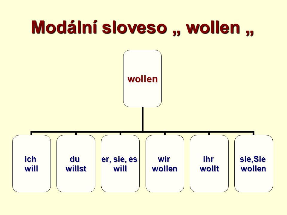 """Modální sloveso """" wollen """" wollen ichwillduwillst er, sie, es willwirwollenihrwolltsie,Siewollen"""
