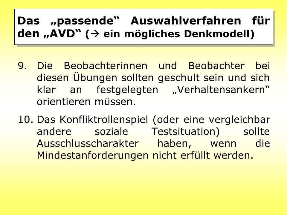"""Das """"passende Auswahlverfahren für den """"AVD (  ein mögliches Denkmodell) 9.Die Beobachterinnen und Beobachter bei diesen Übungen sollten geschult sein und sich klar an festgelegten """"Verhaltensankern orientieren müssen."""