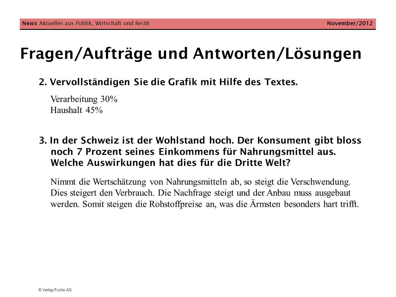 © Verlag Fuchs AG Fragen/Aufträge und Antworten/Lösungen 2. Vervollständigen Sie die Grafik mit Hilfe des Textes. News Aktuelles aus Politik, Wirtscha