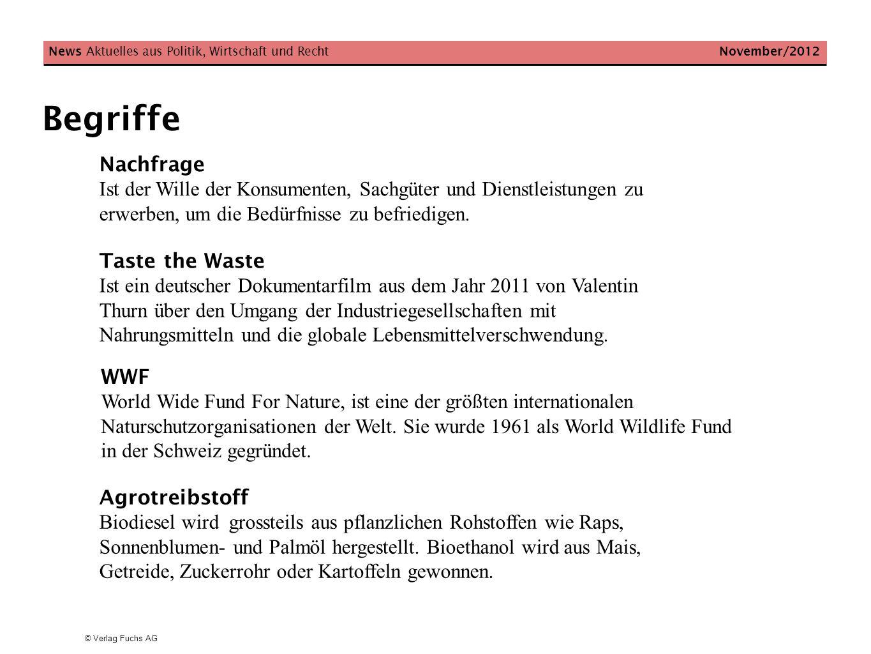 © Verlag Fuchs AG Begriffe News Aktuelles aus Politik, Wirtschaft und Recht November/2012 Nachfrage Ist der Wille der Konsumenten, Sachgüter und Diens