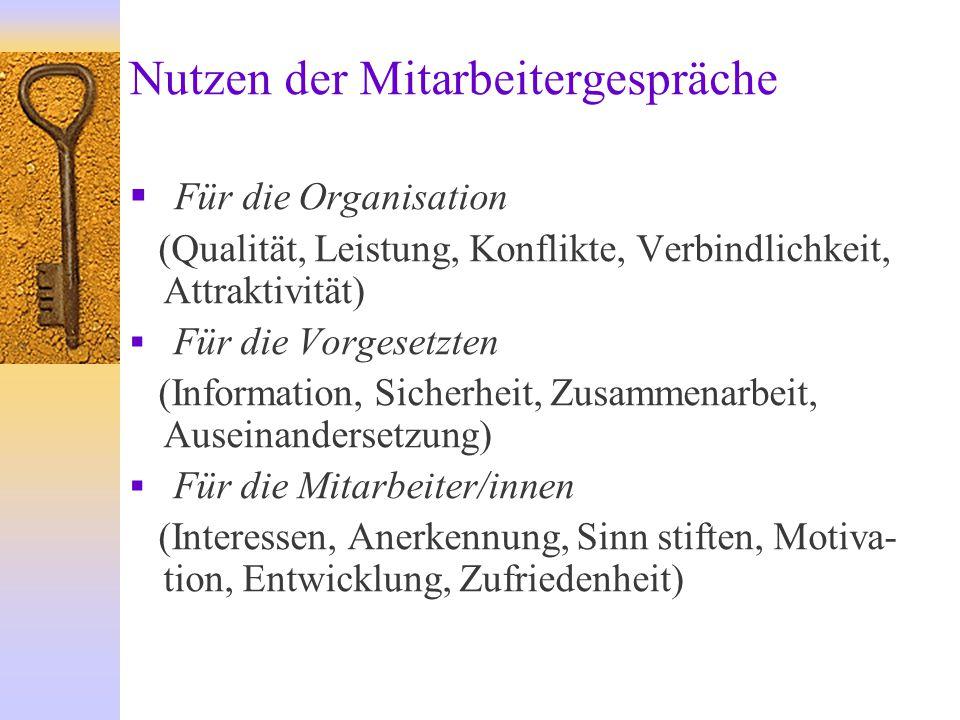 Nutzen der Mitarbeitergespräche  Für die Organisation (Qualität, Leistung, Konflikte, Verbindlichkeit, Attraktivität)  Für die Vorgesetzten (Informa