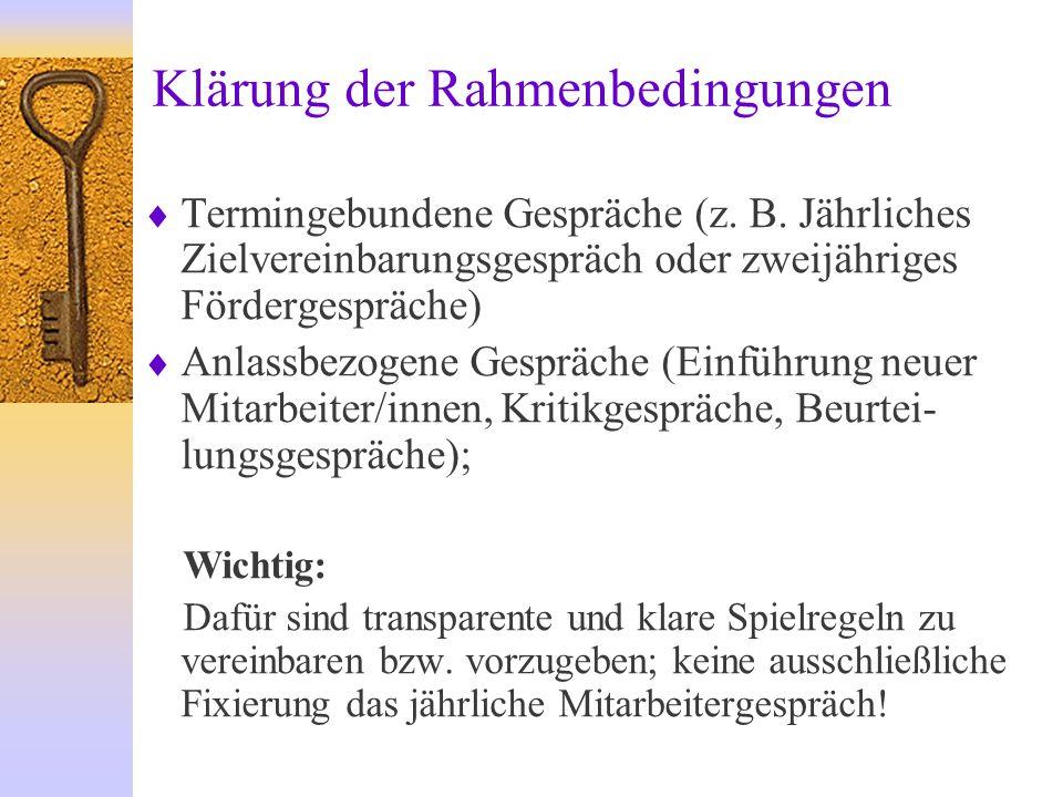 Klärung der Rahmenbedingungen  Termingebundene Gespräche (z.
