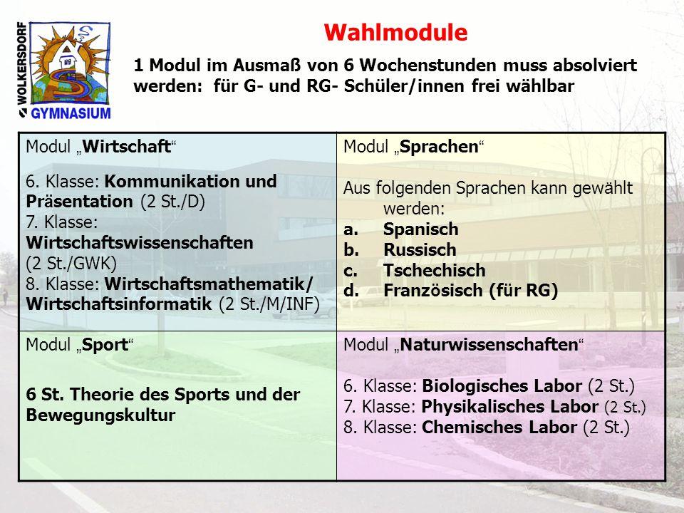 """Modul """" Wirtschaft """" 6. Klasse: Kommunikation und Pr ä sentation (2 St./D) 7. Klasse: Wirtschaftswissenschaften (2 St./GWK) 8. Klasse: Wirtschaftsmath"""