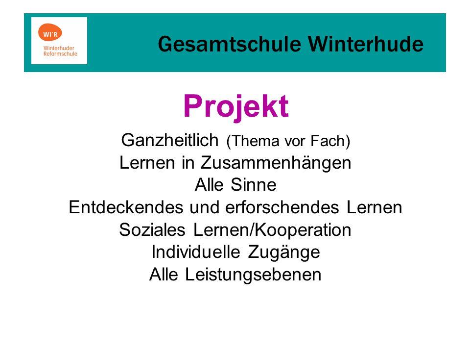 Gesamtschule Winterhude Projekt Ganzheitlich (Thema vor Fach) Lernen in Zusammenhängen Alle Sinne Entdeckendes und erforschendes Lernen Soziales Lernen/Kooperation Individuelle Zugänge Alle Leistungsebenen