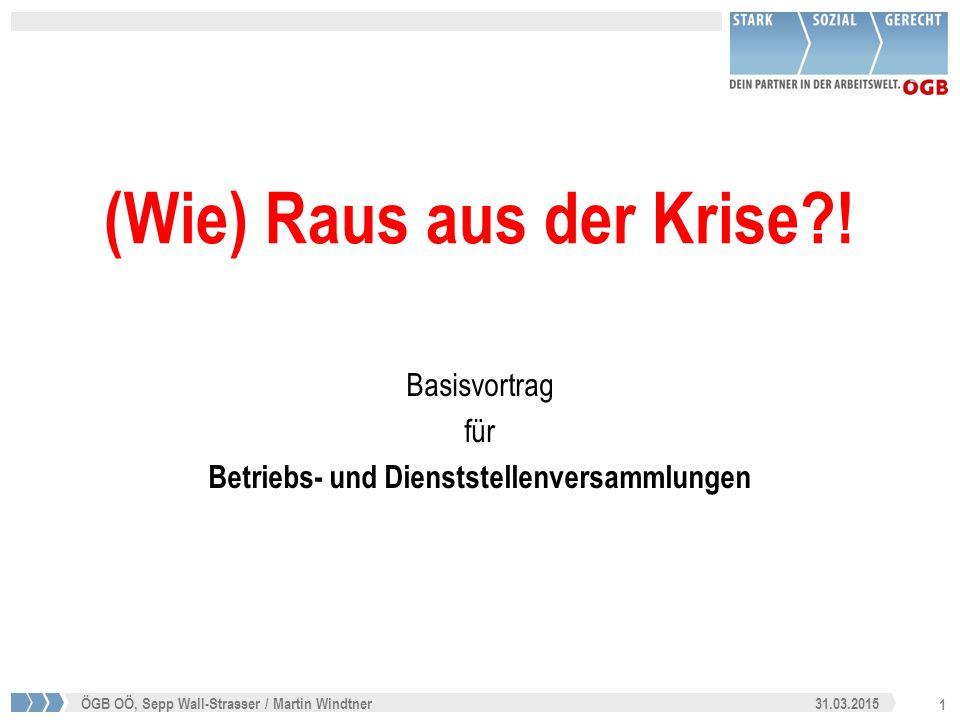 1 31.03.2015ÖGB OÖ, Sepp Wall-Strasser / Martin Windtner (Wie) Raus aus der Krise?! Basisvortrag für Betriebs- und Dienststellenversammlungen