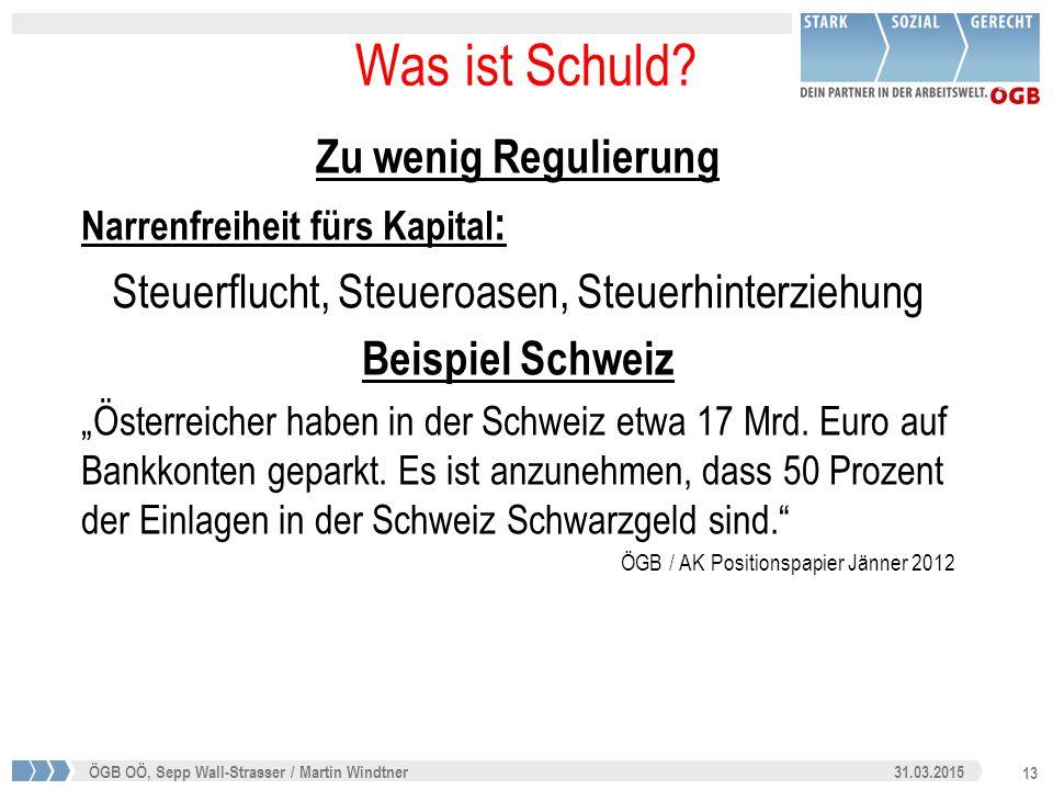 13 31.03.2015ÖGB OÖ, Sepp Wall-Strasser / Martin Windtner Was ist Schuld? Zu wenig Regulierung Narrenfreiheit fürs Kapital : Steuerflucht, Steueroasen
