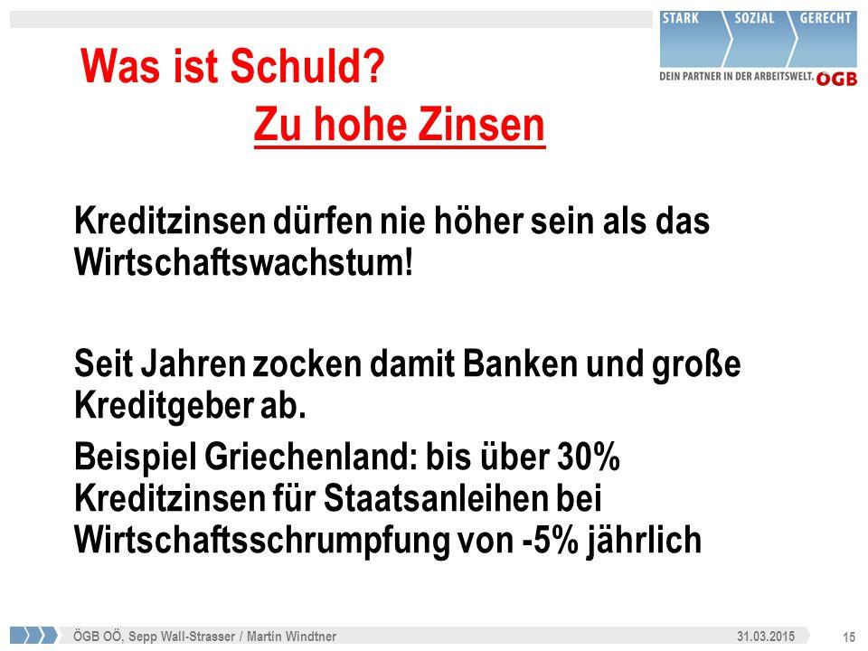 15 31.03.2015ÖGB OÖ, Sepp Wall-Strasser / Martin Windtner Was ist Schuld? Zu hohe Zinsen Kreditzinsen dürfen nie höher sein als das Wirtschaftswachstu