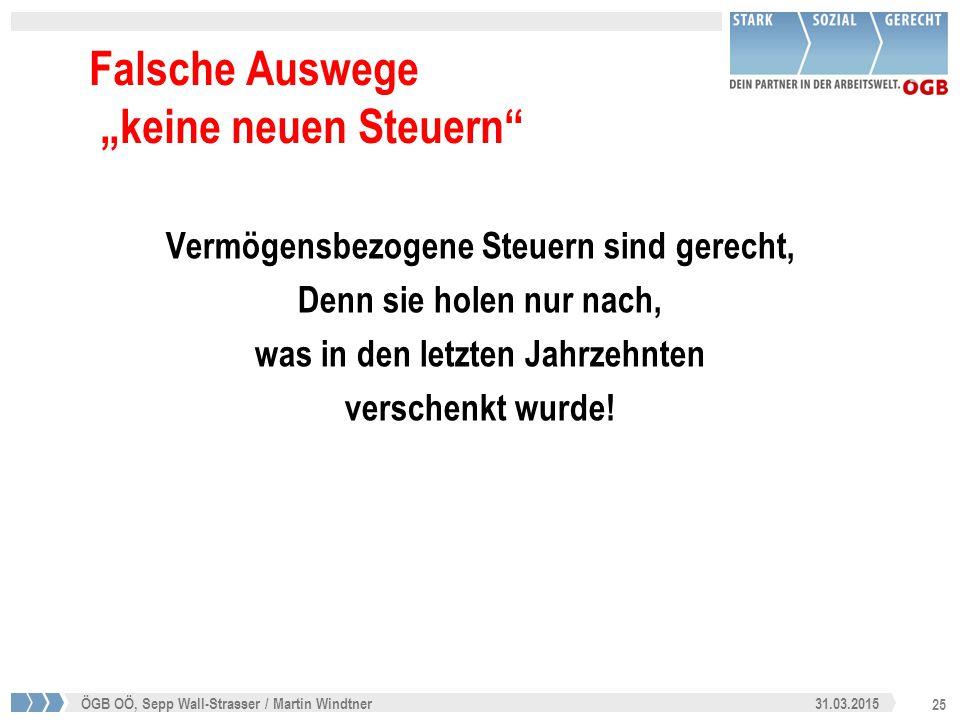 """25 31.03.2015ÖGB OÖ, Sepp Wall-Strasser / Martin Windtner Falsche Auswege """"keine neuen Steuern"""" Vermögensbezogene Steuern sind gerecht, Denn sie holen"""