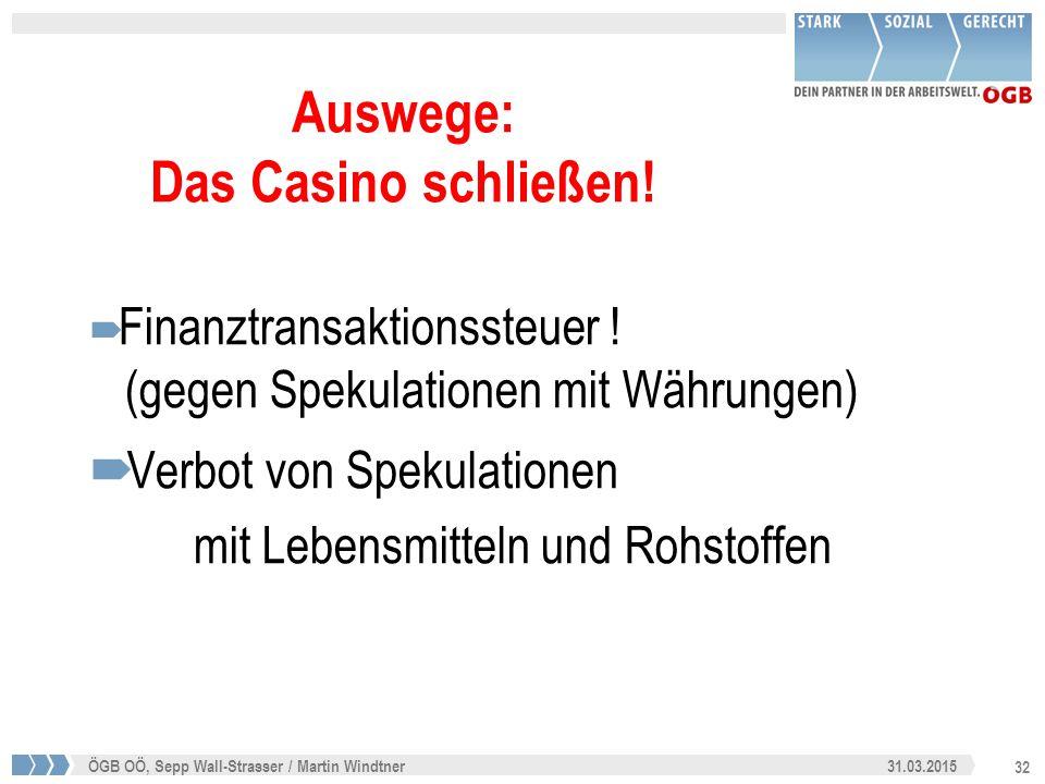 32 31.03.2015ÖGB OÖ, Sepp Wall-Strasser / Martin Windtner Auswege: Das Casino schließen!  Finanztransaktionssteuer ! (gegen Spekulationen mit Währung