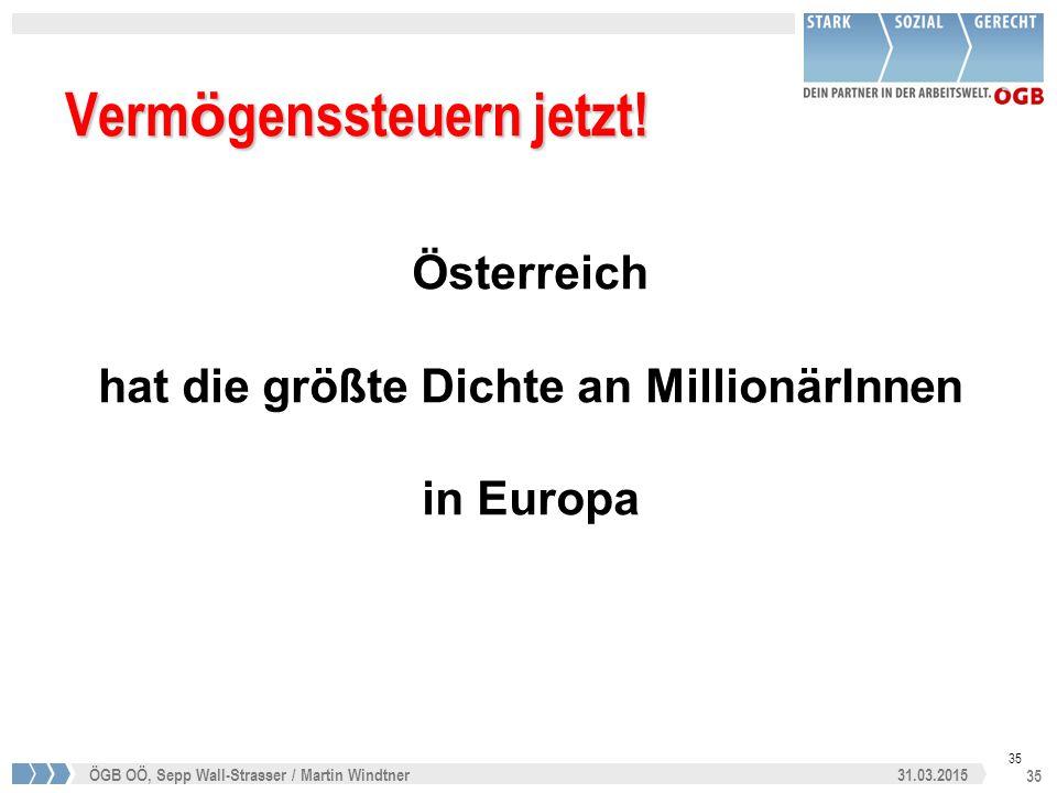 35 31.03.2015ÖGB OÖ, Sepp Wall-Strasser / Martin Windtner 35 Verm ö genssteuern jetzt! Österreich hat die größte Dichte an MillionärInnen in Europa