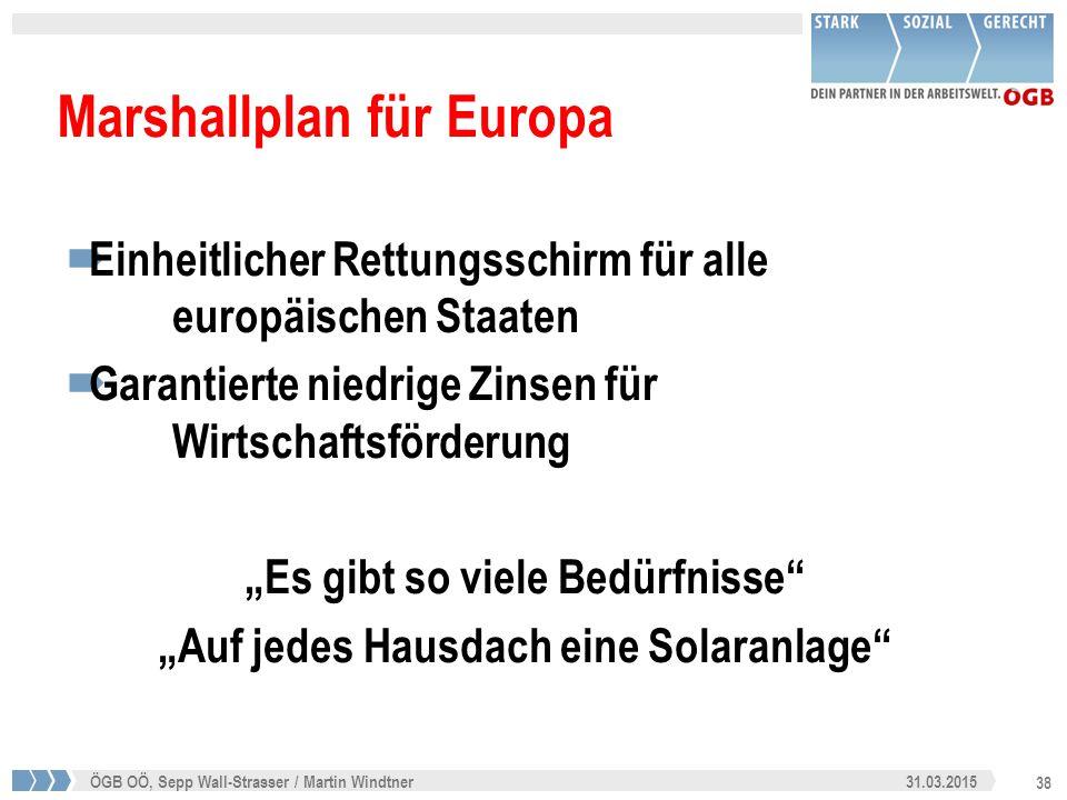 38 31.03.2015ÖGB OÖ, Sepp Wall-Strasser / Martin Windtner Marshallplan für Europa  Einheitlicher Rettungsschirm für alle europäischen Staaten  Garan