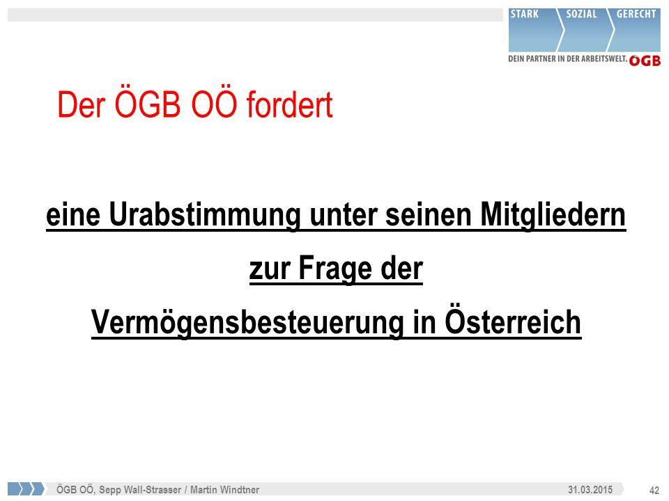 42 31.03.2015ÖGB OÖ, Sepp Wall-Strasser / Martin Windtner Der ÖGB OÖ fordert eine Urabstimmung unter seinen Mitgliedern zur Frage der Vermögensbesteue