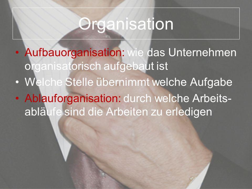 Organisation Aufbauorganisation: wie das Unternehmen organisatorisch aufgebaut ist Welche Stelle übernimmt welche Aufgabe Ablauforganisation: durch we