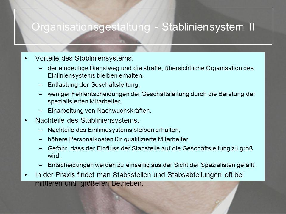 Organisationsgestaltung - Stabliniensystem II Vorteile des Stabliniensystems: –der eindeutige Dienstweg und die straffe, übersichtliche Organisation d