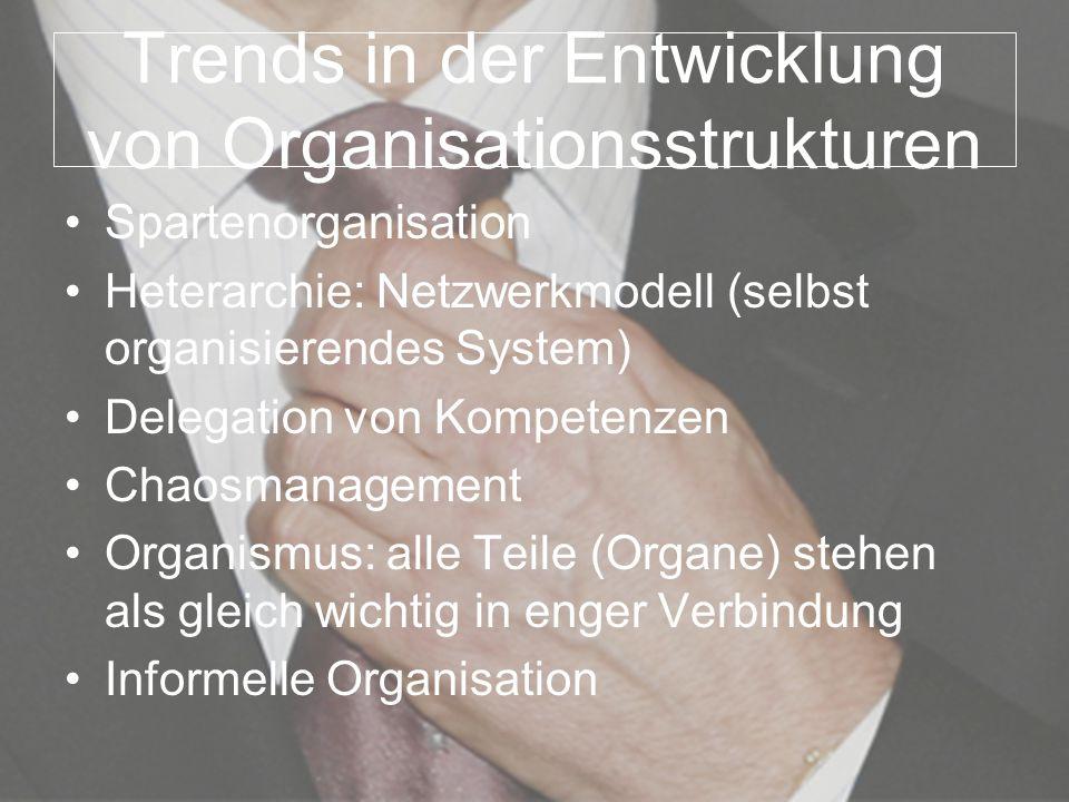 Trends in der Entwicklung von Organisationsstrukturen Spartenorganisation Heterarchie: Netzwerkmodell (selbst organisierendes System) Delegation von K