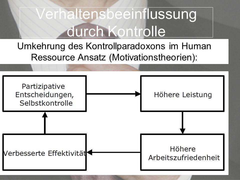 Verhaltensbeeinflussung durch Kontrolle Umkehrung des Kontrollparadoxons im Human Ressource Ansatz (Motivationstheorien):