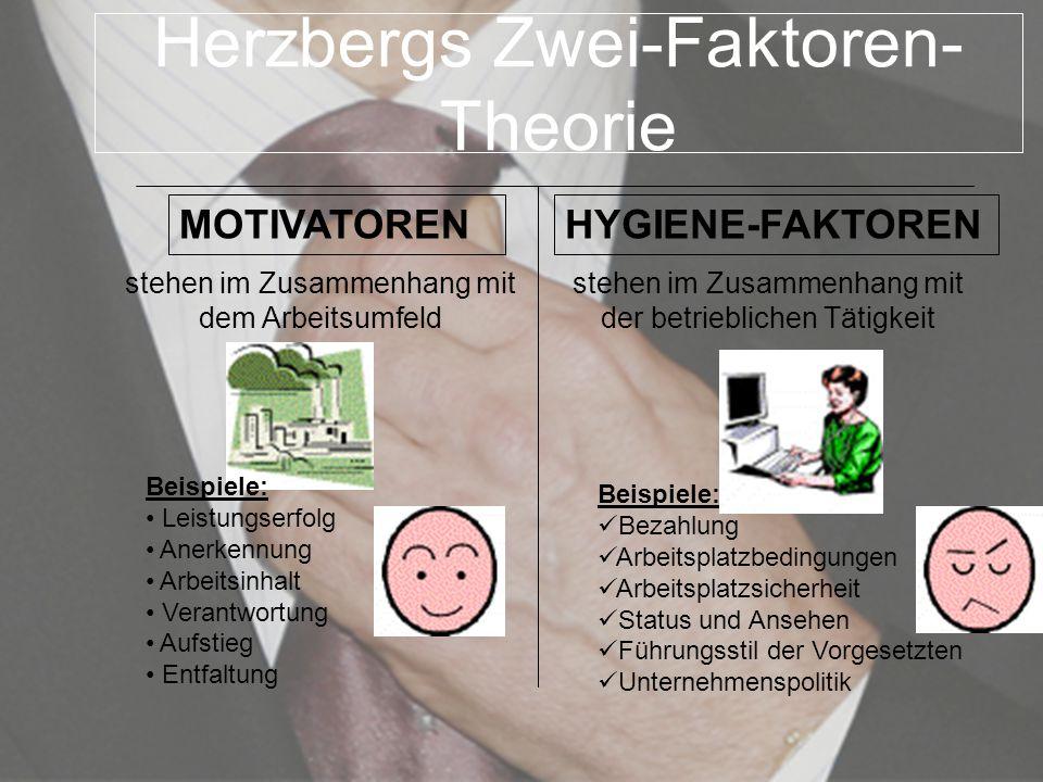Herzbergs Zwei-Faktoren- Theorie MOTIVATORENHYGIENE-FAKTOREN stehen im Zusammenhang mit dem Arbeitsumfeld stehen im Zusammenhang mit der betrieblichen