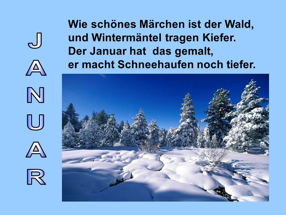 Wie schönes Märchen ist der Wald, und Wintermäntel tragen Kiefer. Der Januar hat das gemalt, er macht Schneehaufen noch tiefer.
