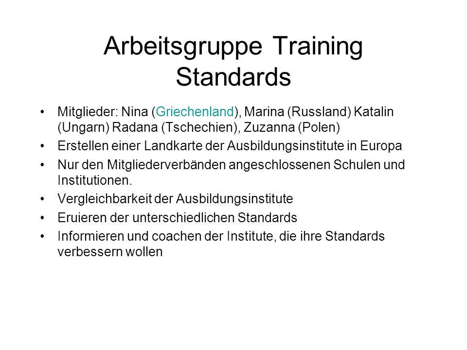 Arbeitsgruppe Training Standards Mitglieder: Nina (Griechenland), Marina (Russland) Katalin (Ungarn) Radana (Tschechien), Zuzanna (Polen) Erstellen ei