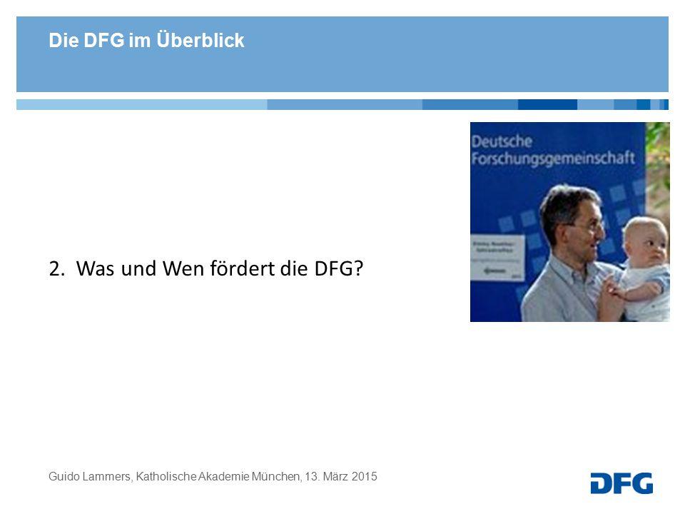 Die DFG im Überblick 2. Was und Wen fördert die DFG? Guido Lammers, Katholische Akademie München, 13. März 2015