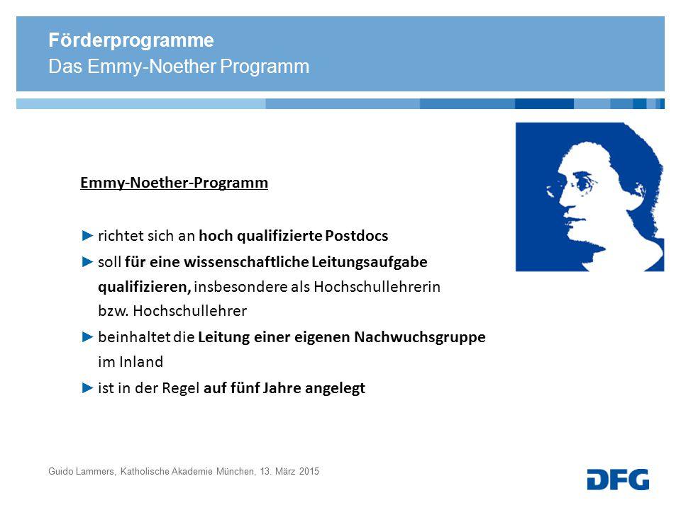 Förderprogramme Emmy-Noether-Programm ► richtet sich an hoch qualifizierte Postdocs ► soll für eine wissenschaftliche Leitungsaufgabe qualifizieren, i