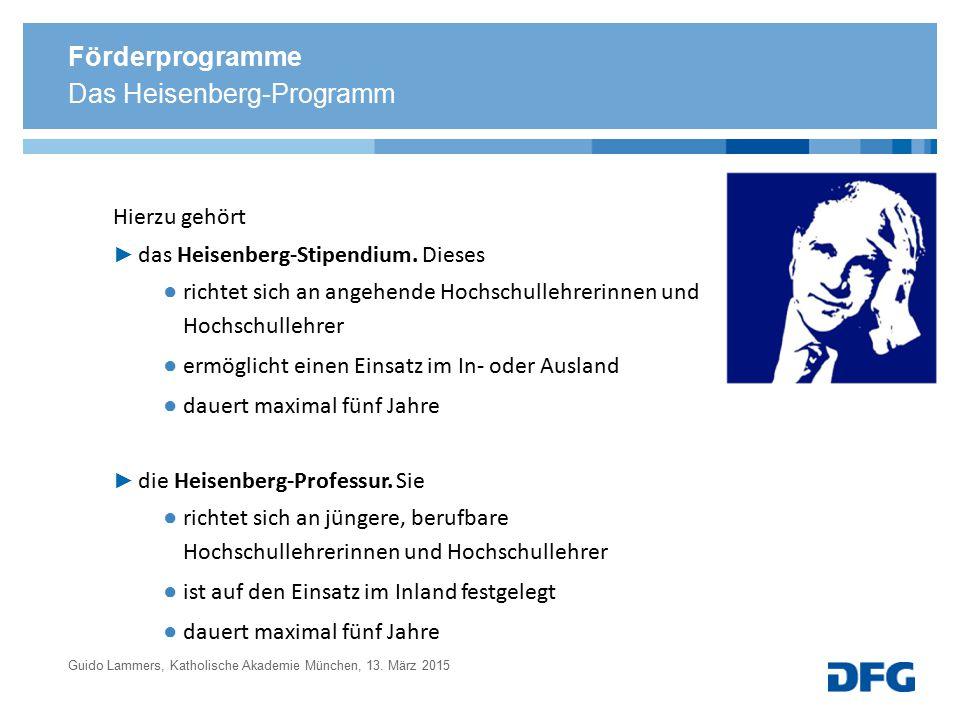 Förderprogramme Hierzu gehört ► das Heisenberg-Stipendium. Dieses ● richtet sich an angehende Hochschullehrerinnen und Hochschullehrer ● ermöglicht ei