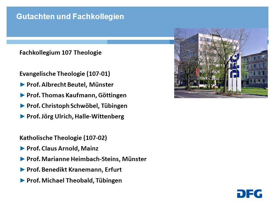 Fachkollegium 107 Theologie Evangelische Theologie (107-01) ► Prof. Albrecht Beutel, Münster ► Prof. Thomas Kaufmann, Göttingen ► Prof. Christoph Schw