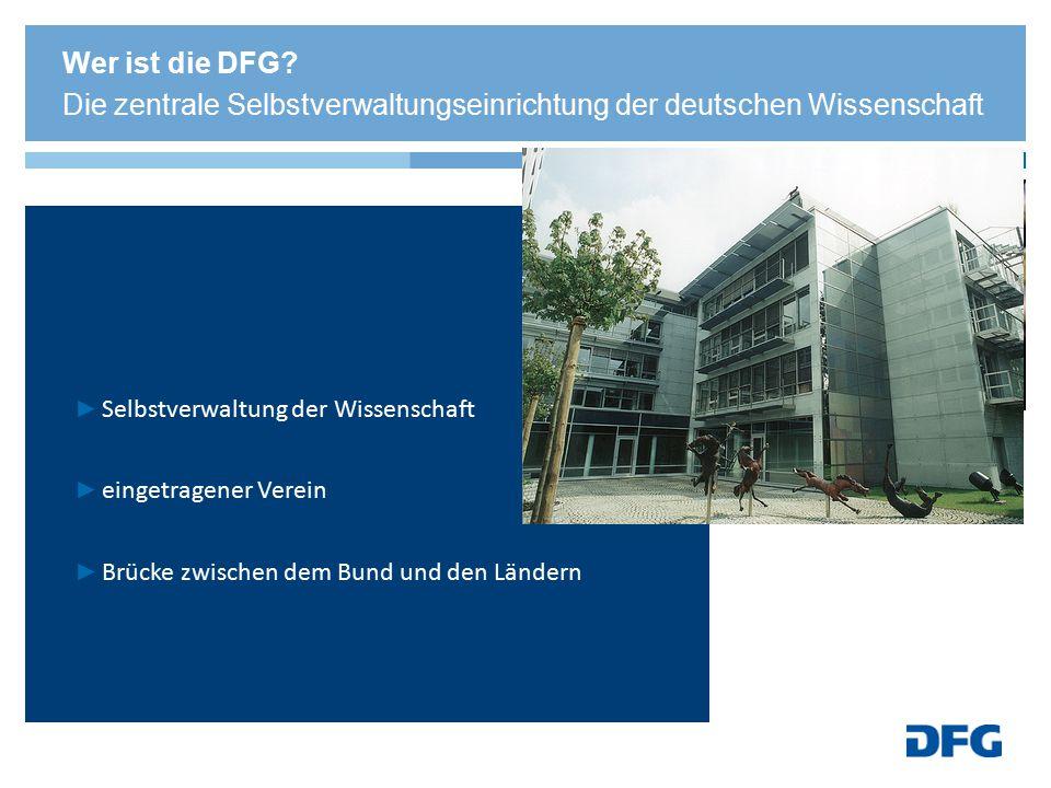 Ihre Mitglieder sind: ► deutsche Universitäten (69) ► außeruniversitäre Forschungseinrichtungen (16) ► Akademien der Wissenschaft (8) ► wissenschaftliche Verbände (3) Wer ist die DFG.