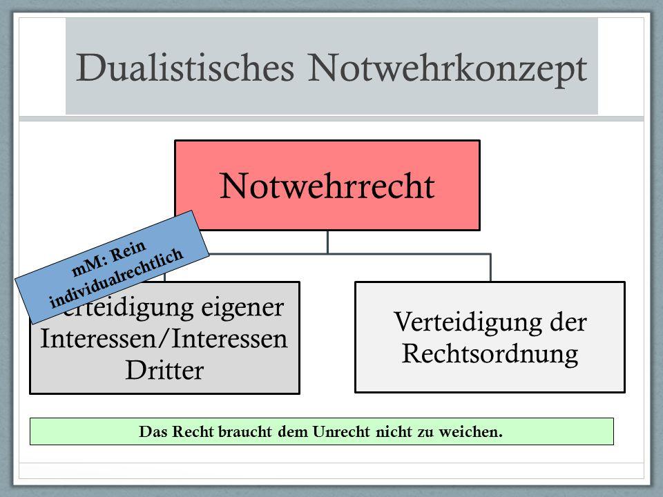 Dualistisches Notwehrkonzept Notwehrrecht Verteidigung eigener Interessen/Interessen Dritter Verteidigung der Rechtsordnung mM: Rein individualrechtli
