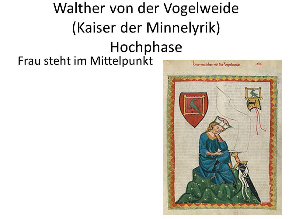 Walther von der Vogelweide (Kaiser der Minnelyrik) Hochphase Frau steht im Mittelpunkt