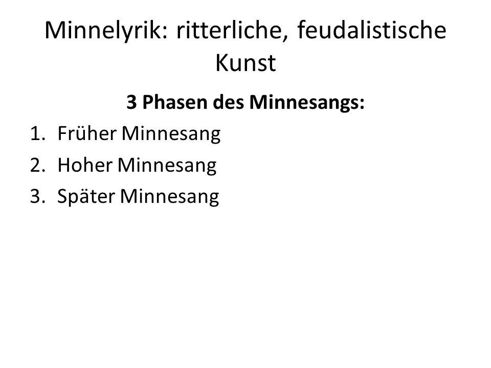 Minnelyrik: ritterliche, feudalistische Kunst 3 Phasen des Minnesangs: 1.Früher Minnesang 2.Hoher Minnesang 3.Später Minnesang