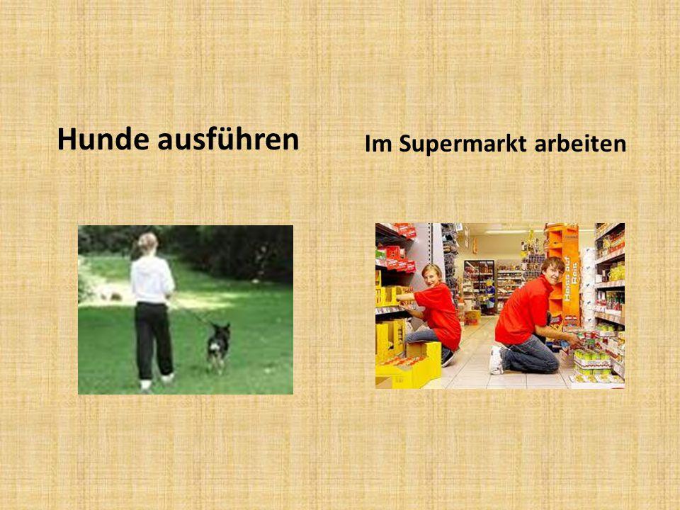 Hunde ausführen Im Supermarkt arbeiten