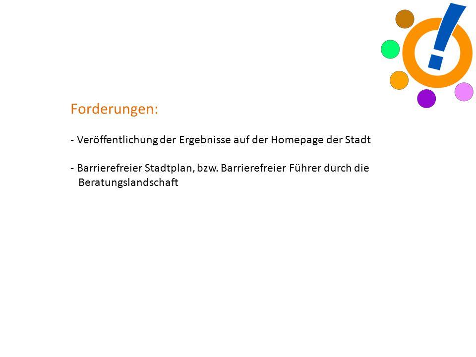 Forderungen: - Veröffentlichung der Ergebnisse auf der Homepage der Stadt - Barrierefreier Stadtplan, bzw.