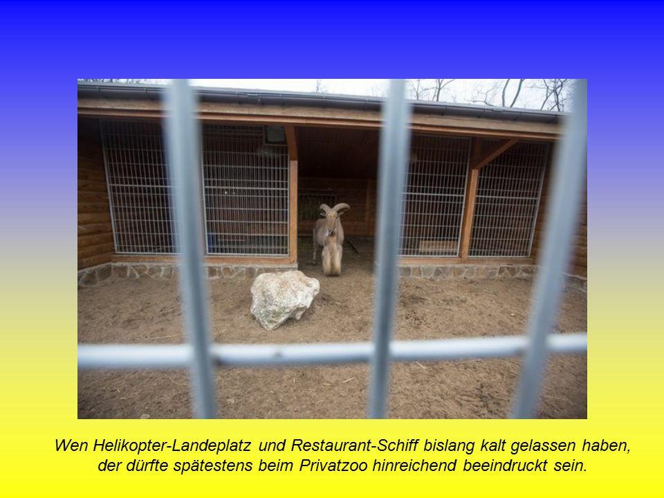 Wen Helikopter-Landeplatz und Restaurant-Schiff bislang kalt gelassen haben, der dürfte spätestens beim Privatzoo hinreichend beeindruckt sein.