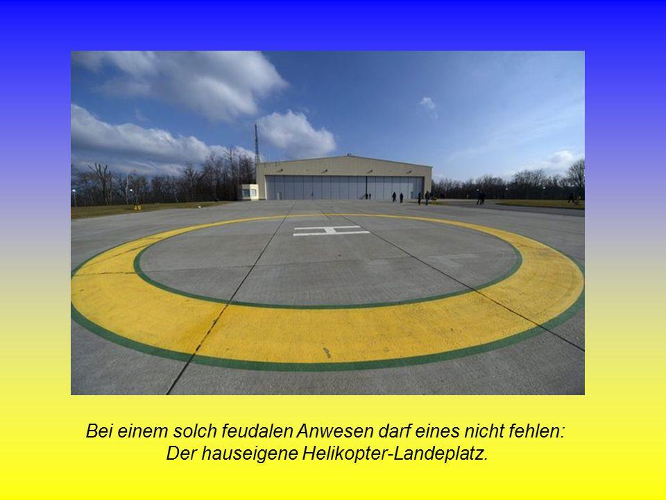 Bei einem solch feudalen Anwesen darf eines nicht fehlen: Der hauseigene Helikopter-Landeplatz.