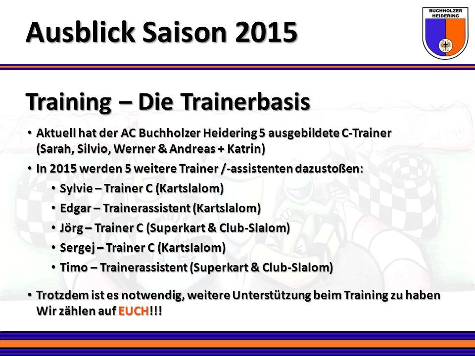 Training – Die Trainerbasis Ausblick Saison 2015 Aktuell hat der AC Buchholzer Heidering 5 ausgebildete C-Trainer Aktuell hat der AC Buchholzer Heider