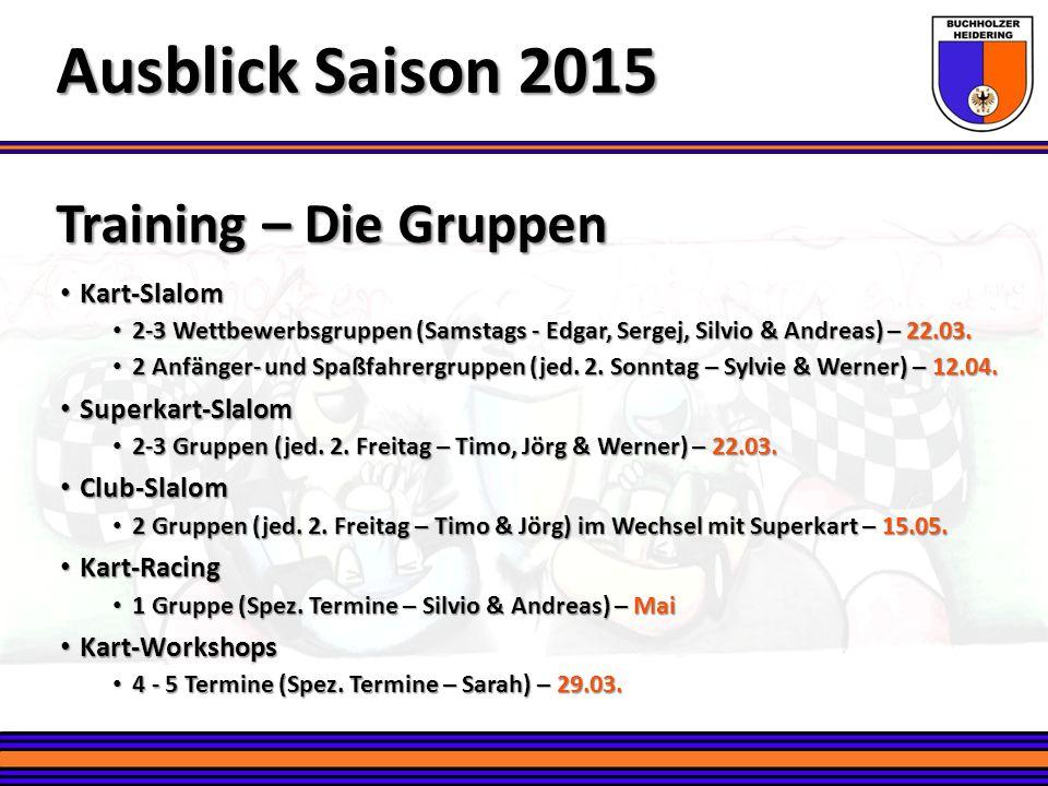 Training – Die Gruppen Ausblick Saison 2015 Kart-Slalom Kart-Slalom 2-3 Wettbewerbsgruppen (Samstags - Edgar, Sergej, Silvio & Andreas) – 22.03. 2-3 W