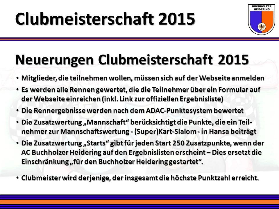 Neuerungen Clubmeisterschaft 2015 Clubmeisterschaft 2015 Mitglieder, die teilnehmen wollen, müssen sich auf der Webseite anmelden Mitglieder, die teil