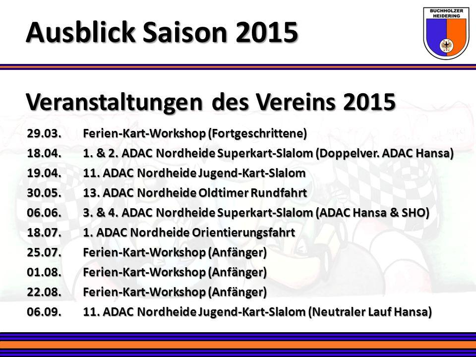 Veranstaltungen des Vereins 2015 Ausblick Saison 2015 29.03.Ferien-Kart-Workshop (Fortgeschrittene) 18.04.1. & 2. ADAC Nordheide Superkart-Slalom (Dop