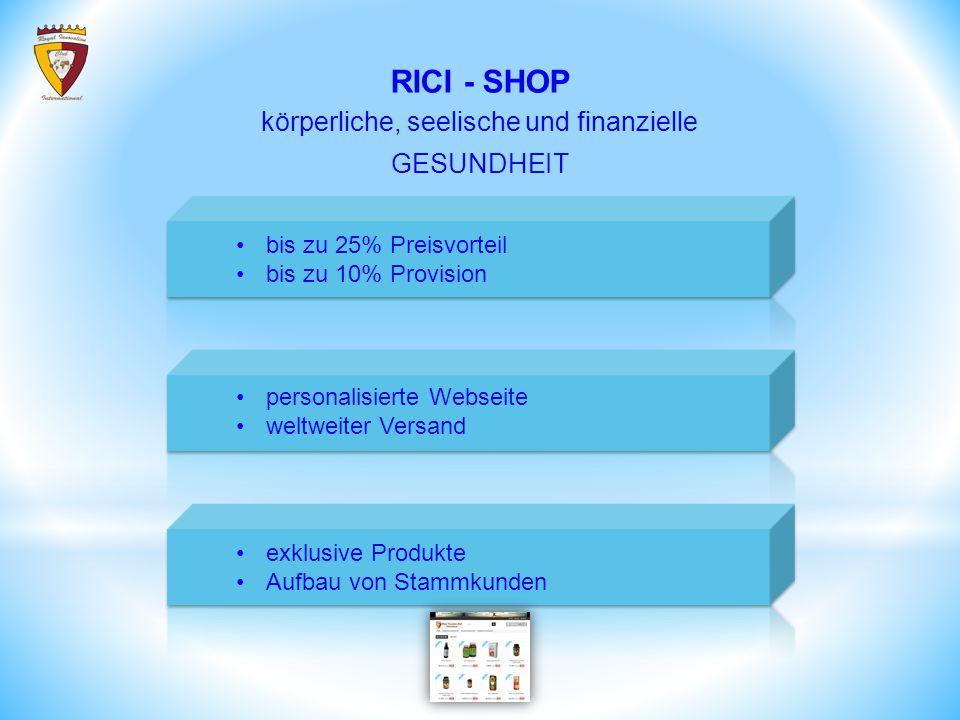 bis zu 25% Preisvorteil bis zu 10% Provision personalisierte Webseite weltweiter Versand RICI - SHOP exklusive Produkte Aufbau von Stammkunden körperliche, seelische und finanzielle GESUNDHEIT