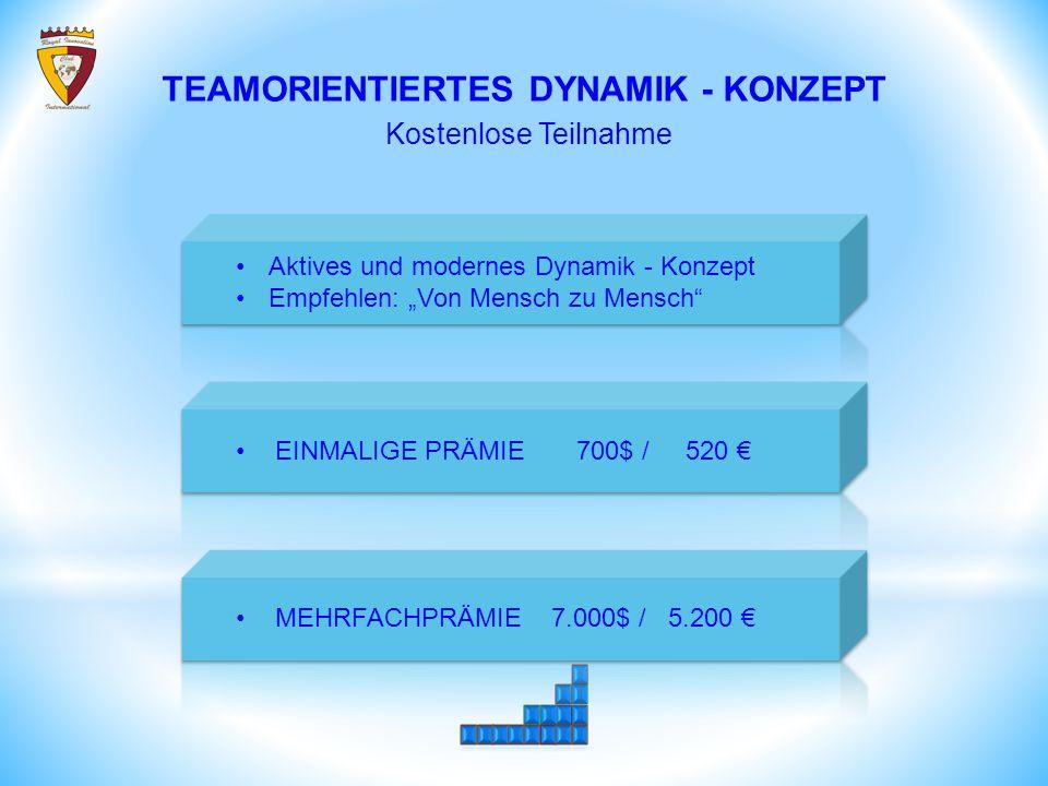 """TEAMORIENTIERTES DYNAMIK - KONZEPT Kostenlose Teilnahme Aktives und modernes Dynamik - Konzept Empfehlen: """"Von Mensch zu Mensch EINMALIGE PRÄMIE 700$ / 520 € MEHRFACHPRÄMIE 7.000$ / 5.200 €"""