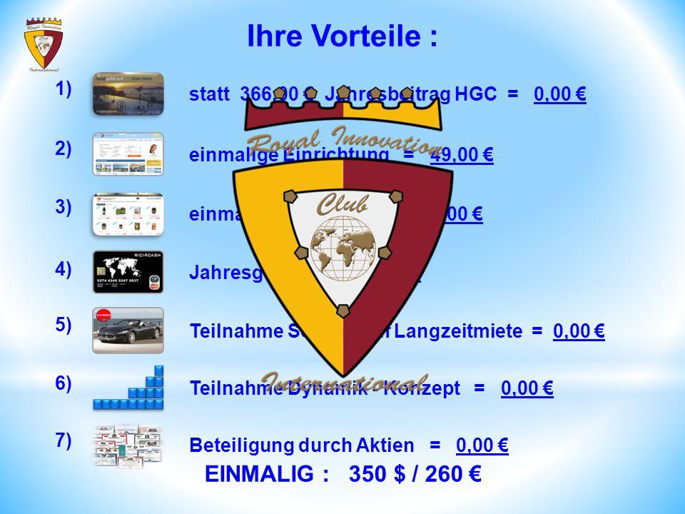 statt 366,00 € Jahresbeitrag HGC = 0,00 € 1) einmalige Einrichtung = 49,00 € 2) einmalige Einrichtung = 0,00 € 3) Teilnahme Dynamik - Konzept = 0,00 € Teilnahme Sondertarif Langzeitmiete = 0,00 € 4) 5) 6) Beteiligung durch Aktien = 0,00 € 7) Jahresgebühr = 49,00 € EINMALIG : 350 $ / 260 € Ihre Vorteile :