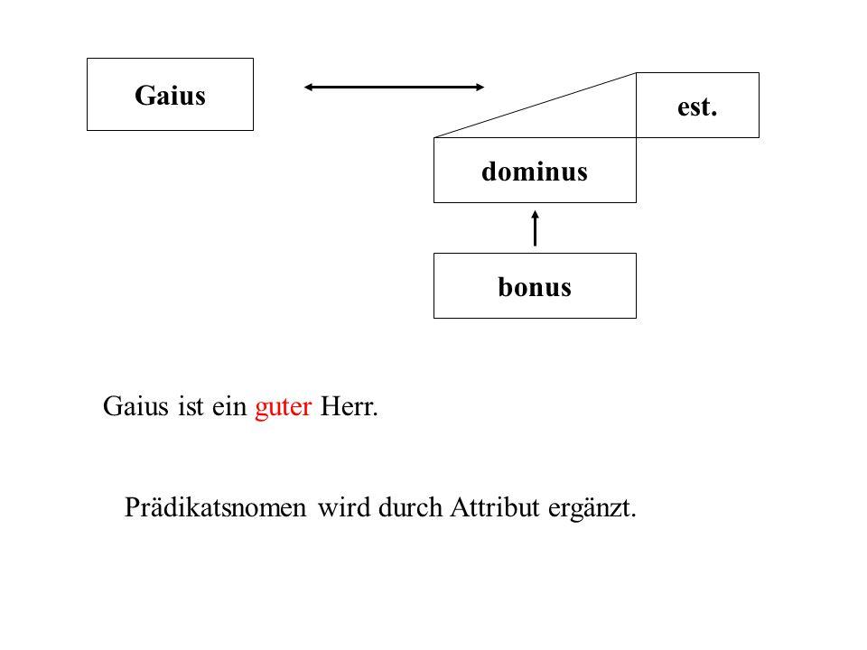 Gaius est. dominus bonus Gaius ist ein guter Herr. Prädikatsnomen wird durch Attribut ergänzt.