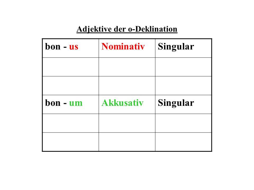 KNG-Kongruenz Die Adjektive stimmen mit dem dazu gehörigen Substantiv immer im Kasus (Fall), Numerus (Singular oder Plural) und Genus (maskulinum, femininum, neutrum) überein, d.h.