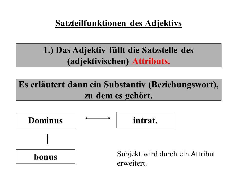 Satzteilfunktionen des Adjektivs 1.) Das Adjektiv füllt die Satzstelle des (adjektivischen) Attributs. Es erläutert dann ein Substantiv (Beziehungswor