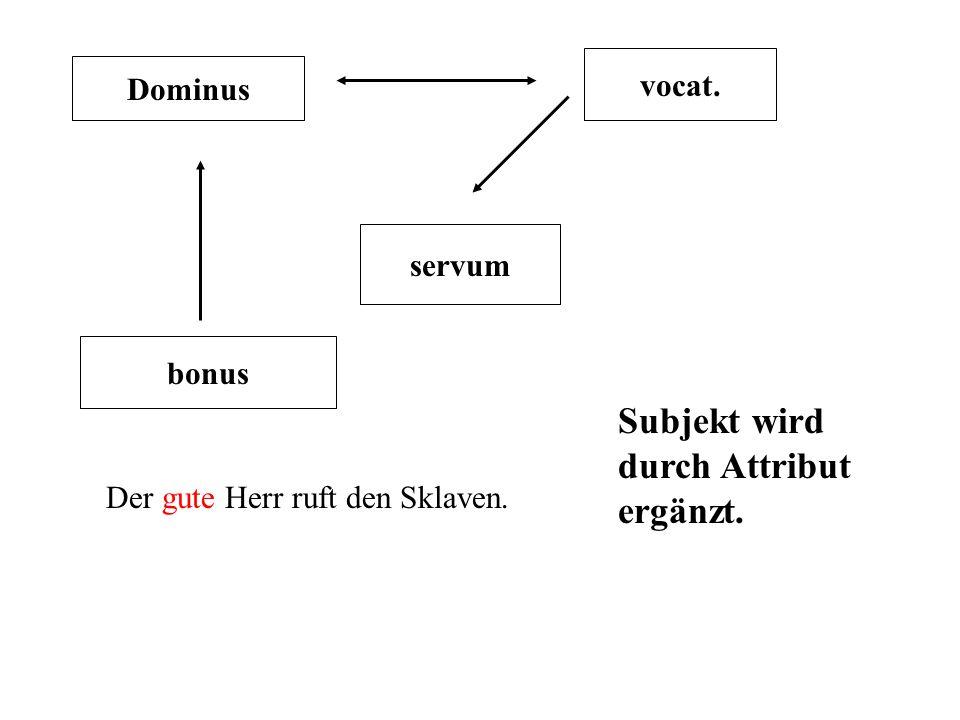 Dominus vocat.servum bonus Der gute Herr ruft den guten Sklaven.