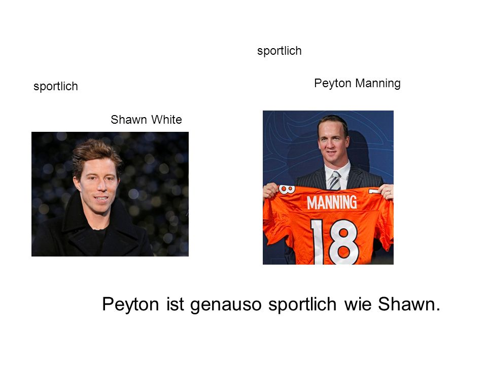 sportlich Shawn White Peyton Manning Peyton ist genauso sportlich wie Shawn.