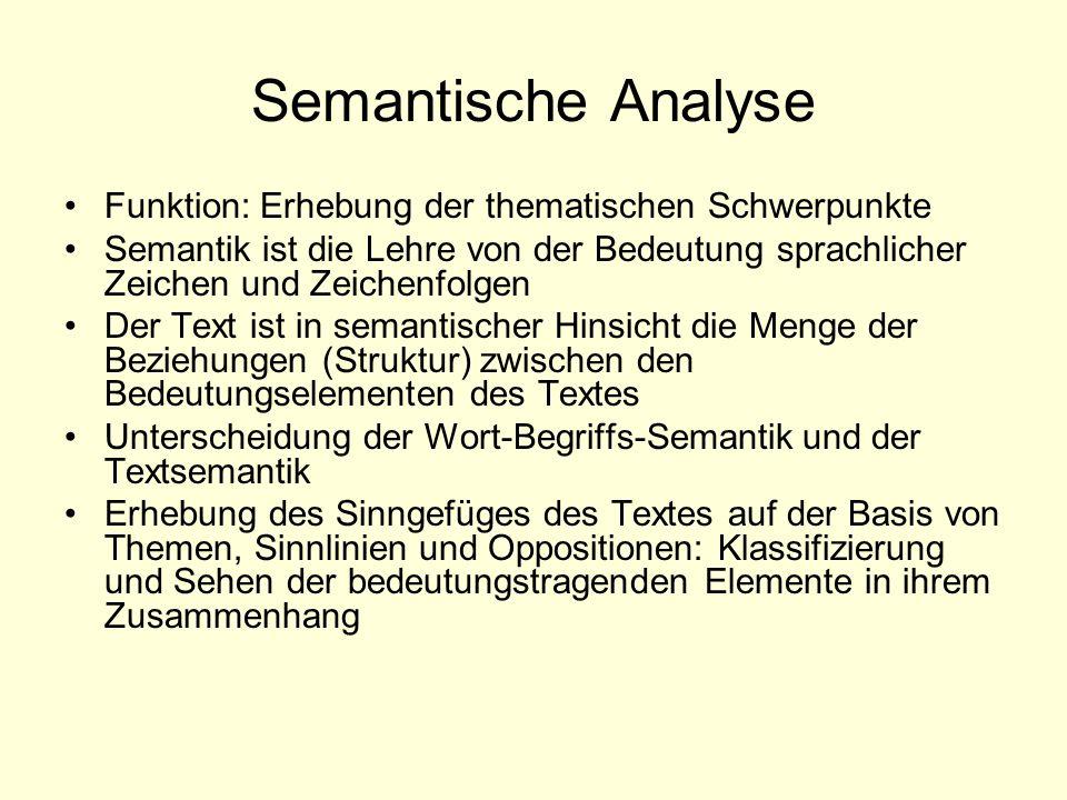Semantische Analyse Funktion: Erhebung der thematischen Schwerpunkte Semantik ist die Lehre von der Bedeutung sprachlicher Zeichen und Zeichenfolgen D