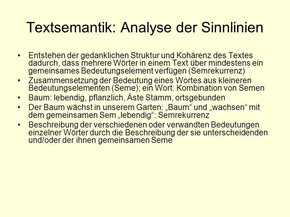 Textsemantik: Analyse der Sinnlinien Entstehen der gedanklichen Struktur und Kohärenz des Textes dadurch, dass mehrere Wörter in einem Text über minde