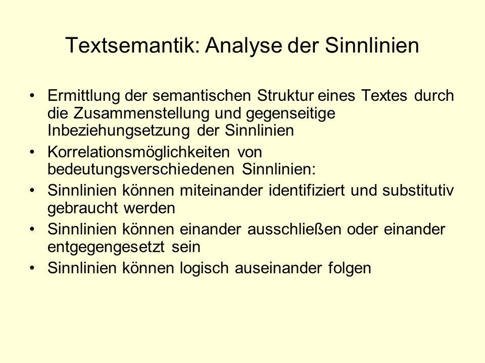 Textsemantik: Analyse der Sinnlinien Ermittlung der semantischen Struktur eines Textes durch die Zusammenstellung und gegenseitige Inbeziehungsetzung
